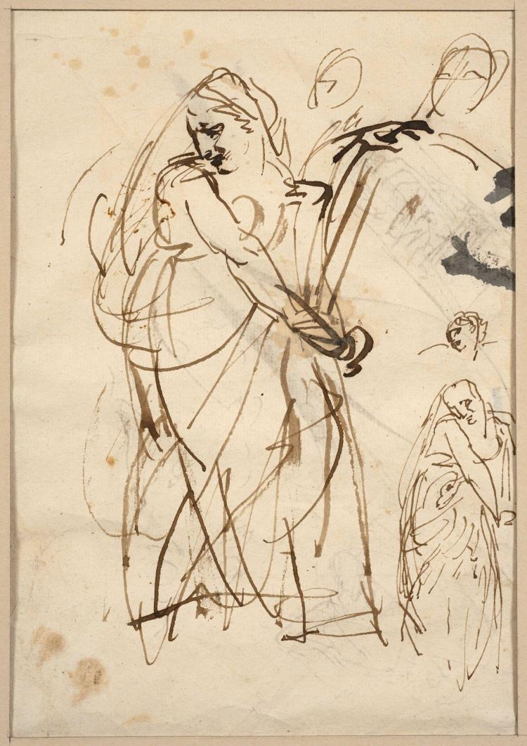 Antoine-Jean Gros, baron Gros Paris, 1771 - Meudon, 1835 Recto : Etude de femme tordue par la douleur ; Verso : étude de figures et...