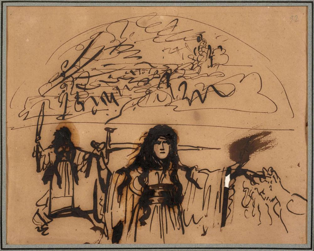 Antoine-Jean Gros, baron Gros Paris, 1771 - Meudon, 1835 Etude pour une druidesse et étude de paysage Plume et encre brune