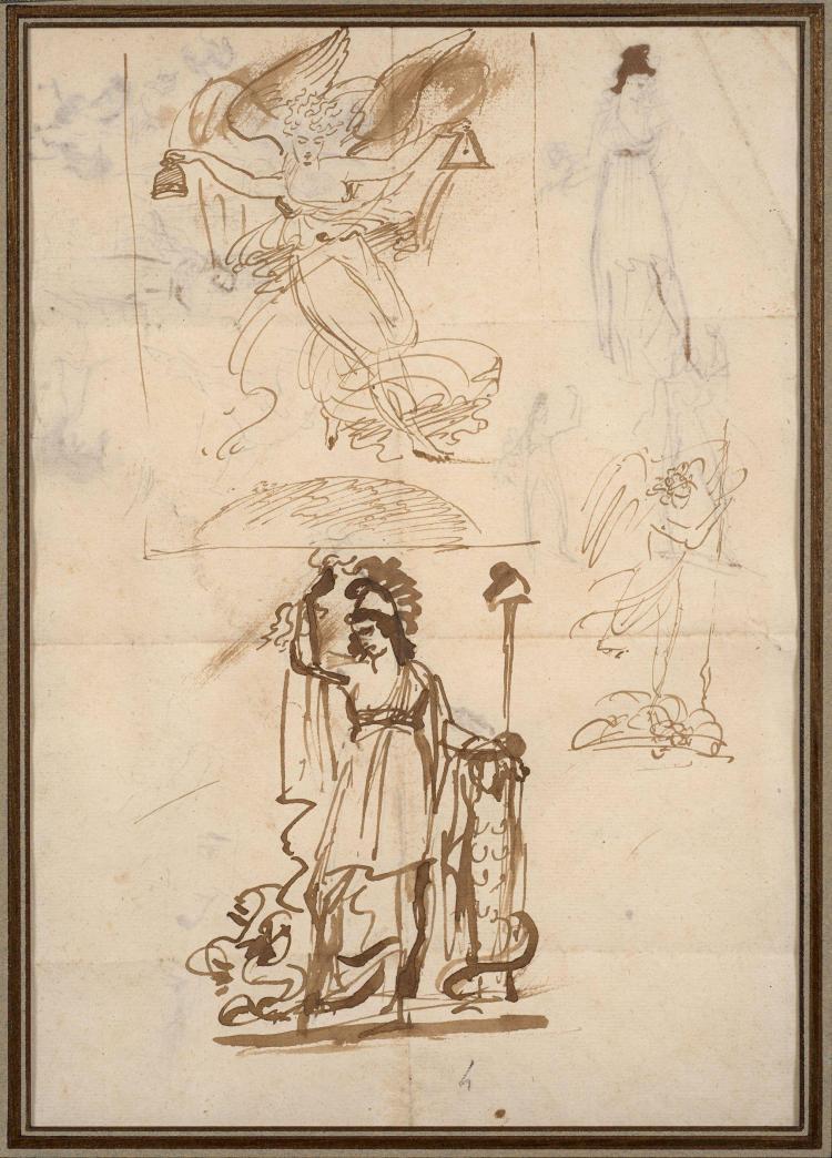 Antoine-Jean Gros, baron Gros Paris, 1771 - Meudon, 1835 Recto : Etudes pour l''écusson de la République française pour le consulat d..