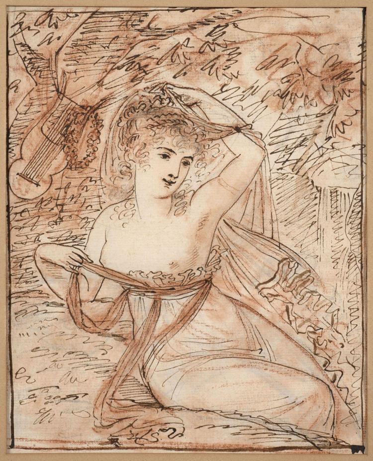 Antoine-Jean Gros, baron Gros Paris, 1771 - Meudon, 1835 Femme assise au pied d'un arbre auquel une lyre est suspendue (recto et ver..