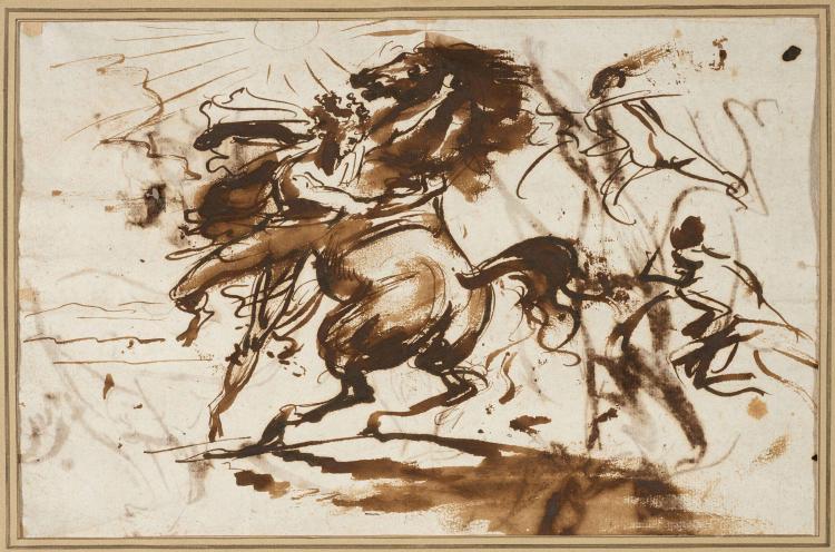 Antoine-Jean Gros, baron Gros Paris, 1771 - Meudon, 1835 Recto : Bucéphale dompté par Alexandre ; Verso : Etudes de figure d'homme,...