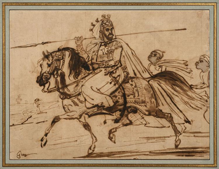 Antoine-Jean Gros, baron Gros Paris, 1771 - Meudon, 1835 Seigneur turc à cheval avec ses deux serviteurs Plume et encre brune sur tr...