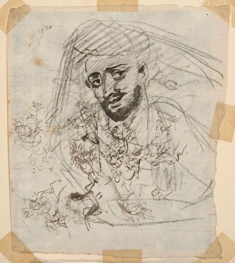 Antoine-Jean Gros, baron Gros Paris, 1771 - Meudon, 1835 Tête d''homme et croquis de cavaliers, études pour le Combat de Nazareth (Re..