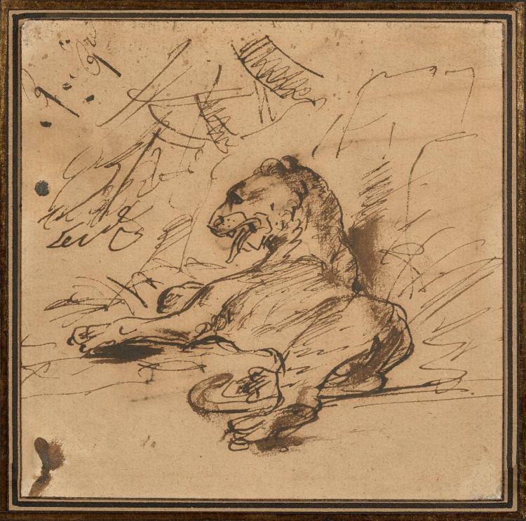 Antoine-Jean Gros, baron Gros Paris, 1771 - Meudon, 1835 Lion au repos couché Plume et encre brune, lavis brun