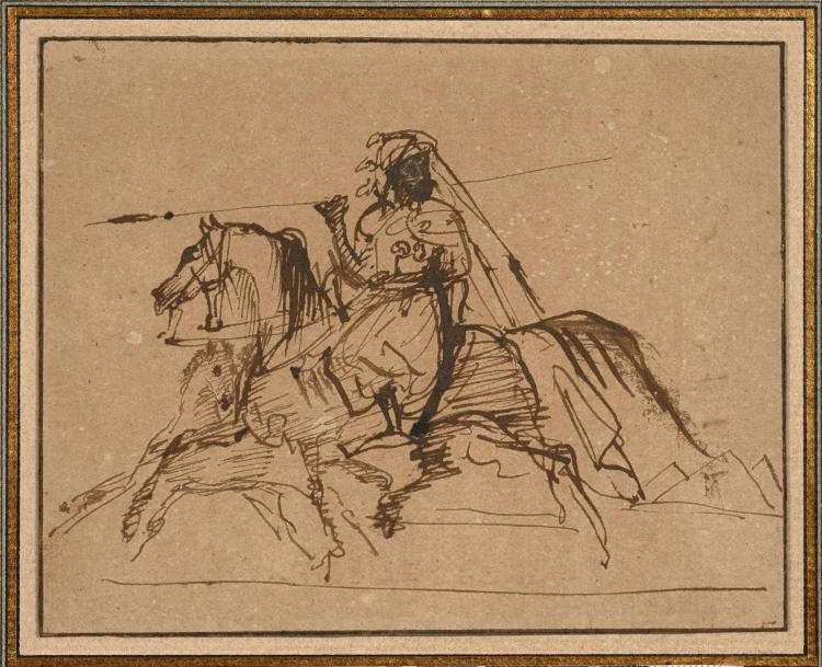 Antoine-Jean Gros, baron Gros Paris, 1771 - Meudon, 1835 Seigneur turc à cheval Plume et encre brune et touches de gouache blanche,...