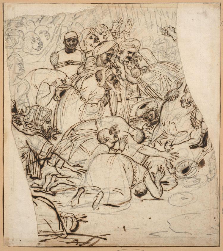 Antoine-Jean Gros, baron Gros Paris, 1771 - Meudon, 1835 Etudes pour Bonaparte pardonnant aux révoltés du Caire. Recto : Groupe de p...