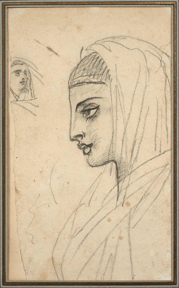 Antoine-Jean Gros, baron Gros Paris, 1771 - Meudon, 1835 Jeune Egyptienne de profil, un croquis de tête en haut à gauche, études pou...