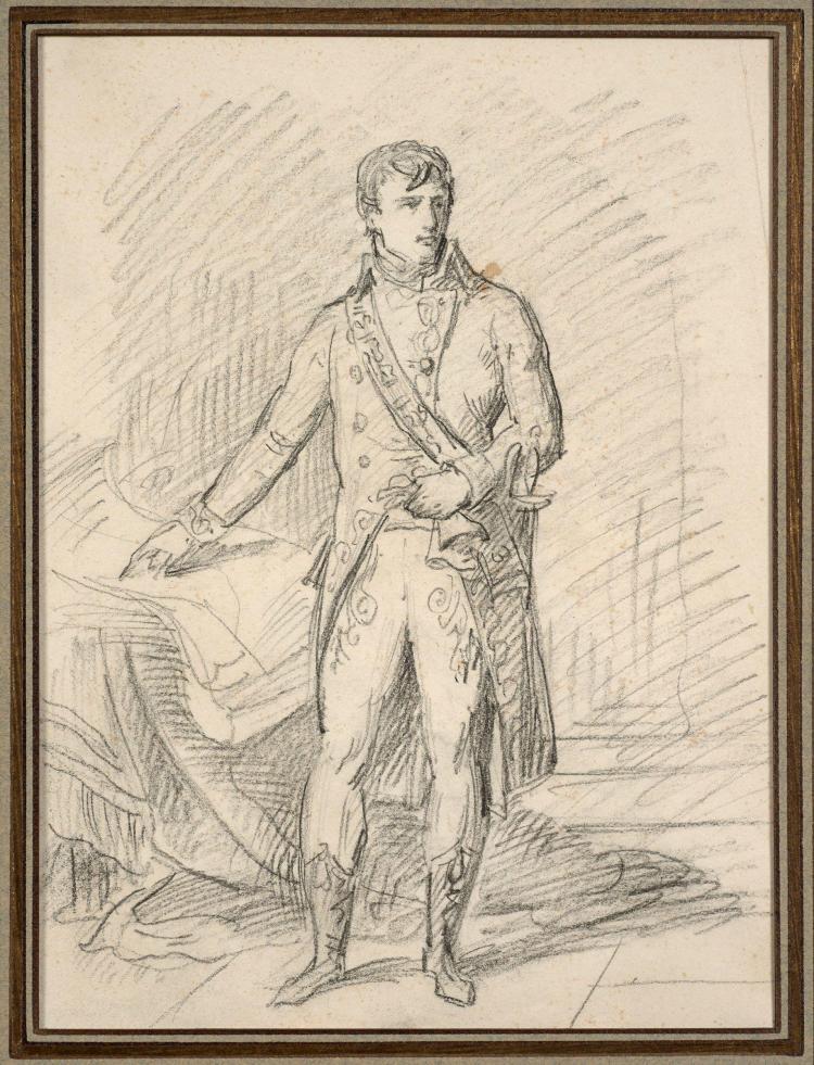 Antoine-Jean Gros, baron Gros Paris, 1771 - Meudon, 1835 Portait de Bonaparte, Premier consul Crayon noir