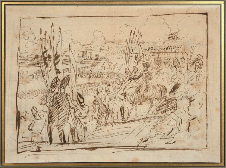 Antoine-Jean Gros, baron Gros Paris, 1771 - Meudon, 1835 La reddition d''Ulm Plume et encre brune sur trait de crayon noir, rehauts d..
