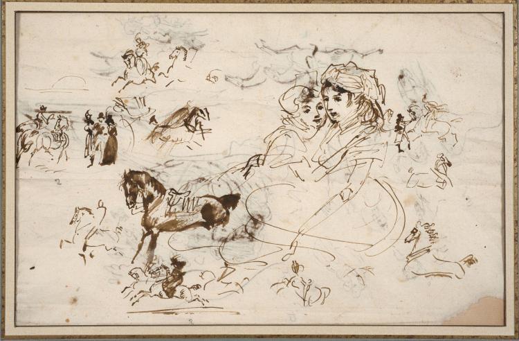 Antoine-Jean Gros, baron Gros Paris, 1771 - Meudon, 1835 Groupe de deux femmes assises et études de figures et de cavaliers (Recto e...