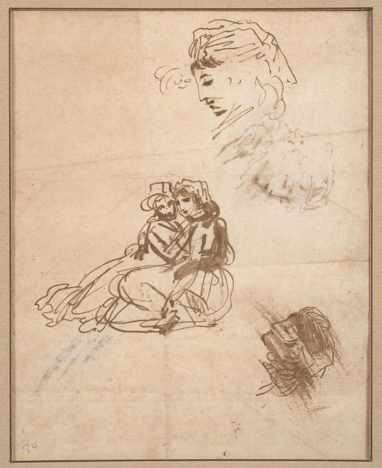 Antoine-Jean Gros, baron Gros Paris, 1771 - Meudon, 1835 Recto : Groupe de deux femmes assises et deux études de têtes : Verso : étu...