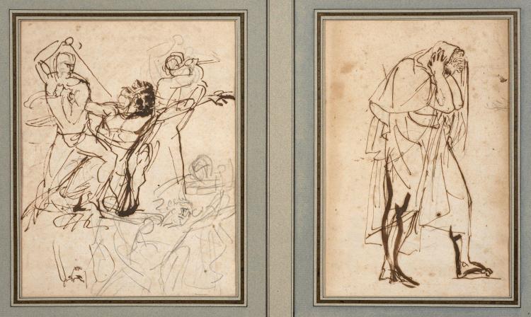 Antoine-Jean Gros, baron Gros Paris, 1771 - Meudon, 1835 Etudes pour Timoléon et Timophane Plume et encre brune sur traits de crayon...