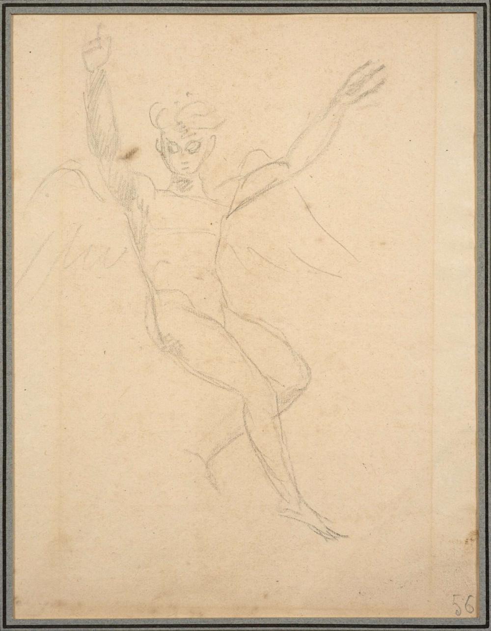 Antoine-Jean Gros, baron Gros Paris, 1771 - Meudon, 1835 Figure d''ange, étude préparatoire pour le décor de la coupole de l''église S.