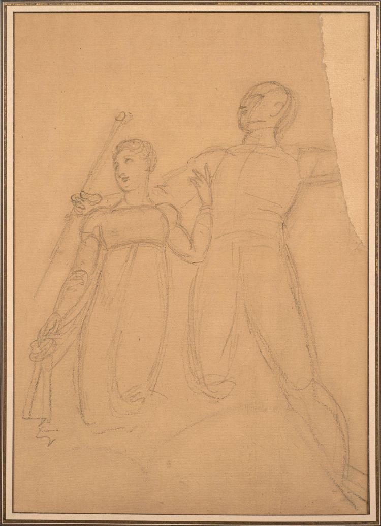 Antoine-Jean Gros, baron Gros Paris, 1771 - Meudon, 1835 Napoléon et Marie-Louise, étude pour la coupole de l''église Sainte Genevièv..