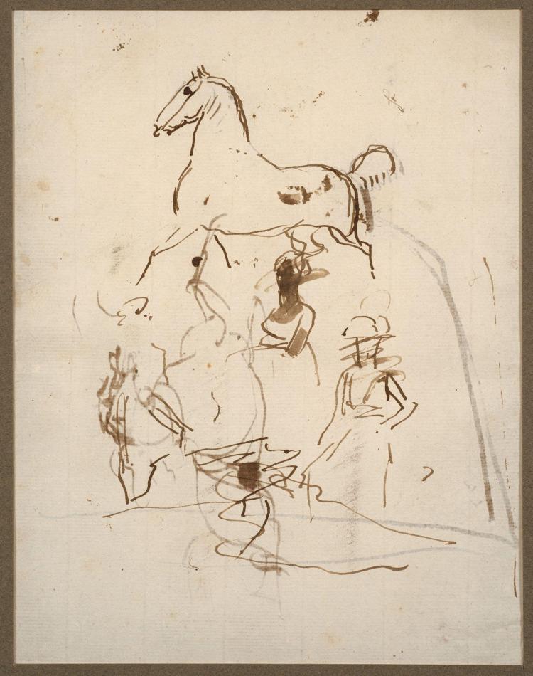 Antoine-Jean Gros, baron Gros Paris, 1771 - Meudon, 1835 Etude de chevaux et de personnages (recto et verso) Plume et encre brune