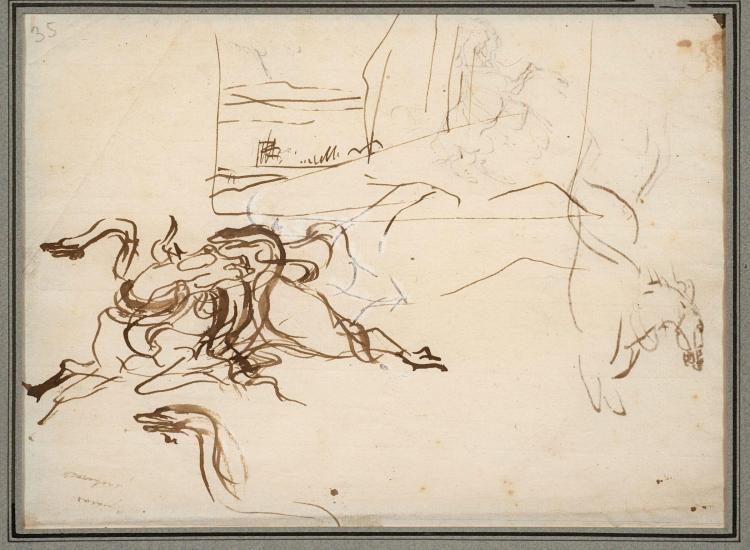 Antoine-Jean Gros, baron Gros Paris, 1771 - Meudon, 1835 Recto : Buffle attaqué par deux serpents, étude de cheval et de paysage ; V...