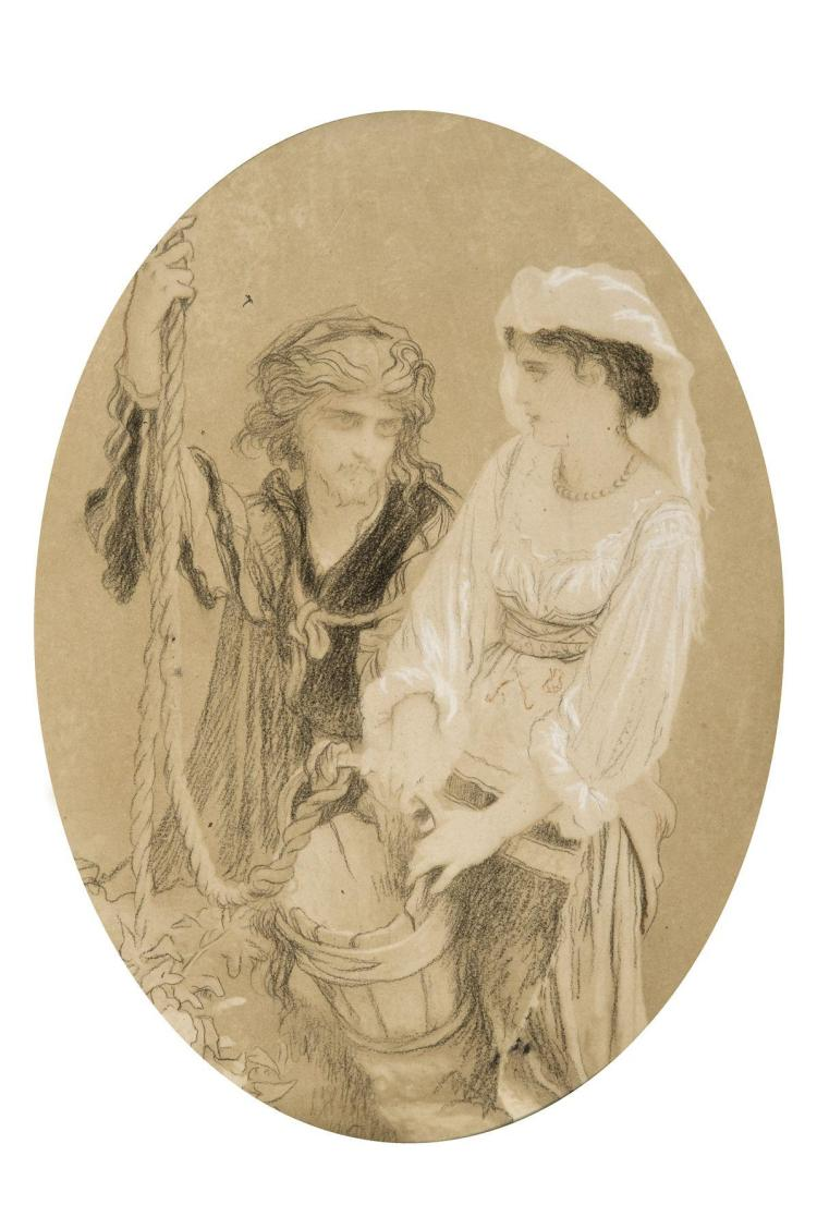 Ernest Hébert Grenoble, 1817 - La Tronche, 1908 Couple au puits Crayon noir et craie blanche,
