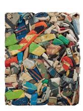 CESAR (1921 - 1998) COMPRESSION MURALE - 1976 Compression de cartons sur panneau