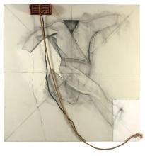 Jim DINE (Né en 1935) RUNNING SELF PORTRAIT (L.L. BEAN) - 1964 Huile, corde, bois, métal et collage sur toile et contreplaqué