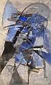 Albert BITRAN (né en 1929) COMPOSITION EN BLEU ET NOIR, 1972 Huile sur toile