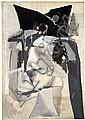 Albert BITRAN (né en 1929) INTERIEUR-EXTERIEUR, 1968 Huile et crayon sur papier