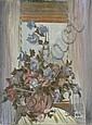 Selim TURAN (1915-1994) BOUQUET DE FLEUR DEVANT NOTRE DAME Huile sur toile