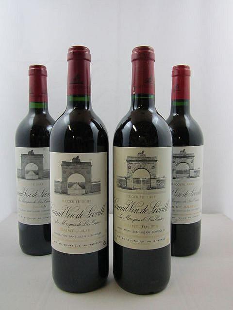 4 bouteilles 1 bt : CHÂTEAU LEOVILLE LAS CASES 1993 2è GC Saint Julien