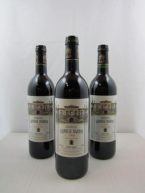 3 bouteilles 2 bts : CHÂTEAU LEOVILLE BARTON 1993 2è GC Saint Julien