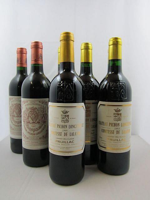7 bouteilles 4 bts : CHÂTEAU PICHON COMTESSE DE LALANDE 1993 2è GC Pauillac (étiquettes fanées)