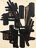 Pierre SOULAGES (né en 1919) BROU DE NOIX SUR PAPIER, 65 x 49 CM, 1951 Brou de noix sur papier
