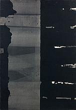 Pierre SOULAGES (né en 1919) GOUACHE SUR PAPIER, 108,5 x 74,5 CM, 1977 Gouache et lavis sur papier marouflé sur toile