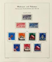 ¤ ° Année Géophysique Internationale, 1956-57 - Album contenant des timbres-poste et des souvenirs philatéliques émis par différents p.