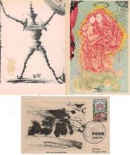 Cartes postales - Salvador DALI - Carte postale de la série du Tour de France (1959) avec deux cartes postales reproduisant deux de...