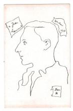 Cartes postales - Jean COCTEAU - 2 Portraits de Julien Green avec une carte postale reprenant une illustration de l'Apocalypse (1964..