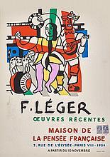 Fernand LÉGER (1881-1955) - Maison de la Pensée française, 1954. Affiche originale, 67 x 49 cm. Timbre fiscal d'affichage.