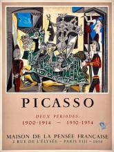 Pablo PICASSO - Deux périodes, 1900-1914 et 1950-54. Exposition à la Maison de la Pensée française, 1954. Timbre fiscal d'affichage...