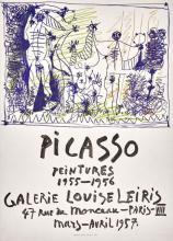 Pablo PICASSO - Peintures 1955-1956. Galerie Louise Leiris, 1957. Affiche originale, 66 x 50 cm.