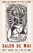 Pablo PICASSO - Salon de Mai. Musée d'Art moderne, Paris 1957. Affiche originale Mourlot, 77 x 48 cm.