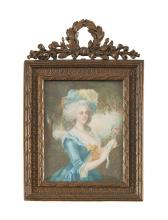 MINIATURE d'après Vigée Le Brun, représentant Marie-Antoinette, cadre en bronze doré, de style Louis XVI.