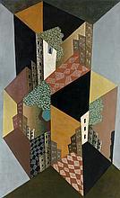 Léopold SURVAGE 1879 - 1968 LA VILLE - 1920 Huile sur toile