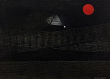 ¤ Max ERNST 1891 - 1976 SOLEIL ROUGE - Circa 1956 Huile sur carton toilé