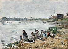 Eugène BOUDIN 1824 - 1898 LAVEUSES AU BORD DE LA TOUQUES - 1890 Huile sur panneau