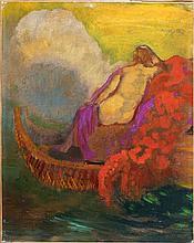 Odilon REDON 1840 - 1916 FEMME A LA BARQUE Huile sur toile