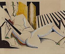 Ossip ZADKINE 1890 - 1967 FEMME A GUITARE - 1923 Gouache, encre et lavis d'encre sur papier