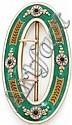 LACLOCHE Rare boucle de ceinture ovale en argent doré émaillé vert souligné de filets blanc à décor feuillagé, appliqué de quatre ...