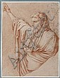 Gérard Audran Lyon, 1640 - Paris, 1703 Figure drapée en buste, le bras droit levé, d'après Le Sueur Sanguine et rehauts de craie bla.., Girard Audran, Click for value