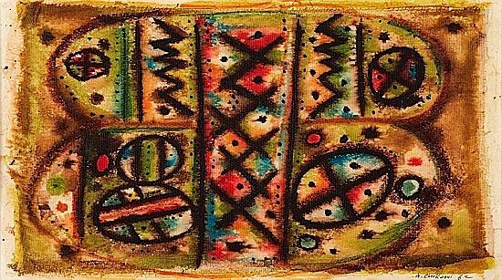Ahmed CHERKAOUI (1934-1967) COMPOSITION ABSTRAITE, 1962 Technique mixte sur gaze contrecollée sur panneau