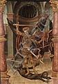 Attribué à Pedro Romana Actif à Cordoue entre 1488 et 1529 Saint Michel terrassant le démon Huile et or sur panneau, transposé sur t...