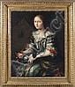 Attribué à Pier Francesco Cittadini Milan, 1616 - Bologne, 1681 Portrait de femme avec son chien Huile sur toile