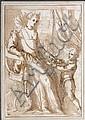 Ecole italienne du début du XVIIe siècle  Dame de qualité et son jeune page dans un intérieur Plume et encre brune sur trait de cray...